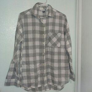 Old Navy Grey and White Boyfriend Shirt Flannel
